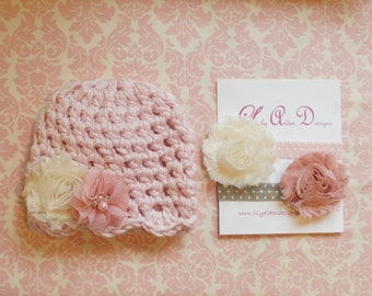 Hat and headband set/ Baby hat/ Newborn headband/ Baby headband