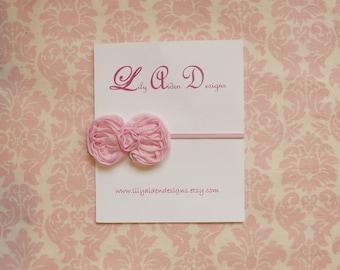 Light pink petite chiffon bow headband/ newborn headband/ baby headband
