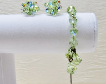 1950's Laguna bracelet and earrings with green crystal beads