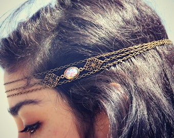 pink opal filigree head chain, chain headband, pink opal headband, metal headband, unique headband