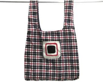 Eco friendly handmade grocery bag, durable, washable - black, white & red plaid