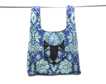 handmade fabric grocery bag  - blue damask w/ cat pocket - eco friendly, washable, durable