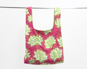 Handmade washable grocery bag - eco friendly, durable - pink and green floral