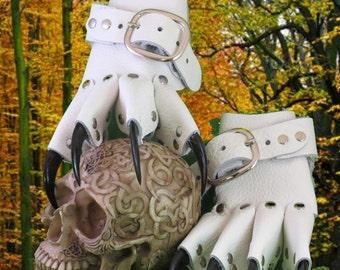 White Gothic Steampunk Claw Gauntlets / Gloves
