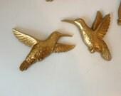 Set of 2 Vintage Gold Hummingbird Wall Hangings
