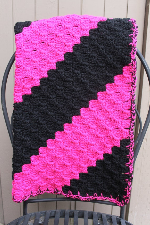 Free Crochet Pattern For Diagonal Baby Blanket : Pink and Black Crochet Diagonal Stripe Baby Lovey / Blanket