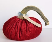 Cranberry Crushed Velvet Pumpkin