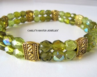 green Czech fire polished bead and gold spacer double strand stretch bracelet. handmade, gifts for women, ready to ship, gifts under 30
