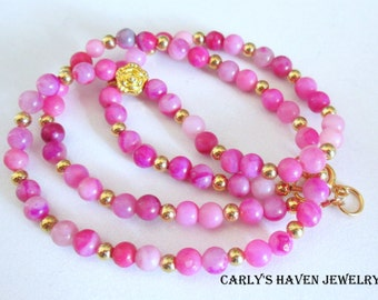 hot pink Crazy Lace Agate and gold beaded necklace, handmade, gifts for women, gifts for girls, ready to ship, gifts under 25