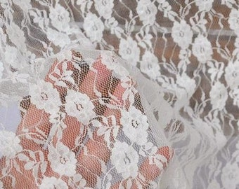 One Yard,Off White Lace,Fabric,Embroidery,Wedding, off white Color,Cotton lace fabirc,stretch lace (W68)