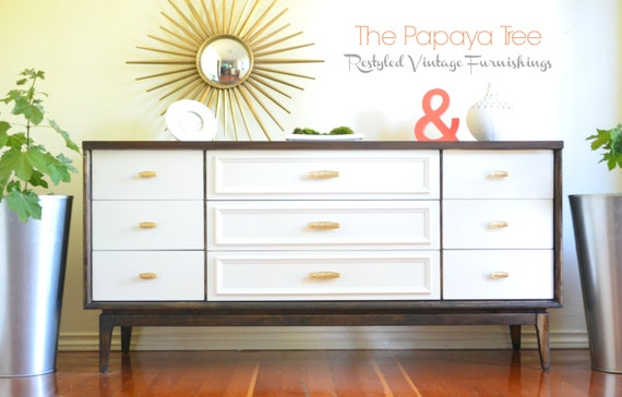Paint to order mid century modern 9 drawer triple by for Painted mid century modern furniture