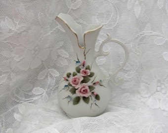 Hand Painted Kelvin Porcelain Pitcher Shaped Bud Vase c1959