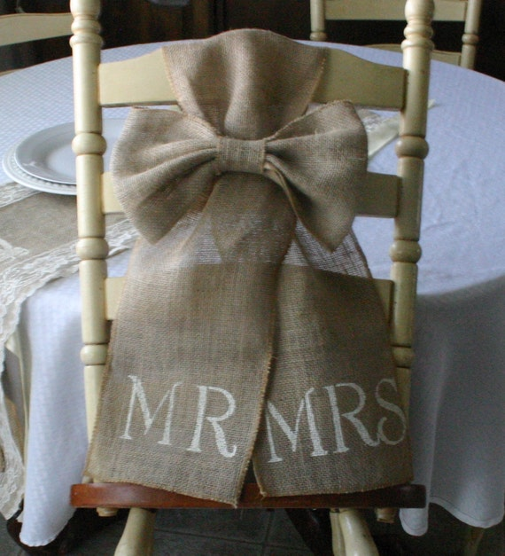Bride And Groom Chair Bows TWO Mr And Mrs Burlap Pew Bows