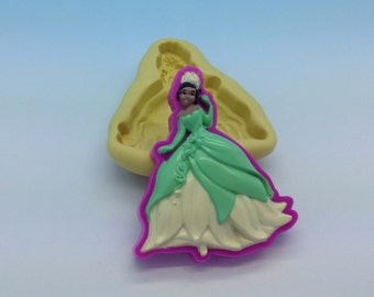 TIANA Princess frog Flexible Silicone Push Mold for Polymer clay, plaster,cold porcelain,Resin,Wax, Food,Sweets,fimo,chocolate.