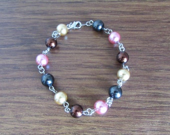 Glass Pearl Bead Bracelet Silver Accented Dark Rose Gold Chocolate Brown Black Free US Shipping