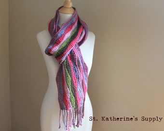 PDF Crochet Pattern - Corazol Color Wave Crochet Scarf Pattern - Stash Buster Pattern with Instructions for Twisted Fringe