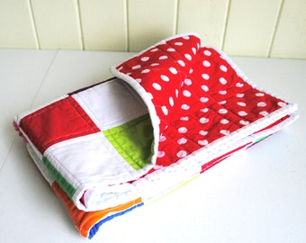 Modern Baby Quilt - Colourful Patchwork - Cot Quilt