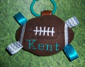 TEAL and SILVER (Gray) Baby FOOTBALL Ribbon Toy  ---  Are these Your Team Colors