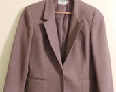 Vintage Christmas Gift! 1980's Brown Plum Blazer Skirt Set by Personal Petites