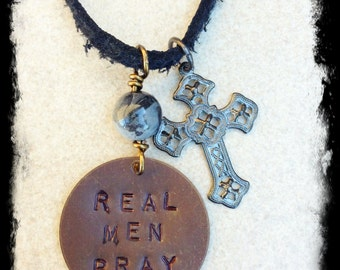 Men's or Unisex Black Deerskin Suede Christian Inspiration Necklace with Hand Stamped Brass Tag and Charms