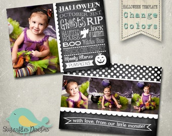 Halloween Card PHOTOSHOP TEMPLATE - Vintage Halloween Boutique 12