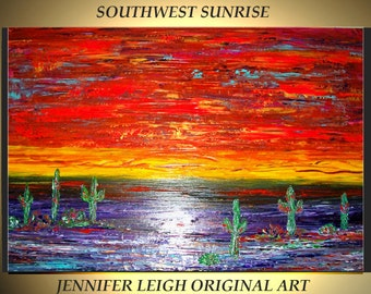 Original Large Abstract Painting Modern Contemporary Canvas Art  Yellow Orange SOUTHWEST SUNRISE 36x24 Palette Knife Texture Oil J.LEIGH