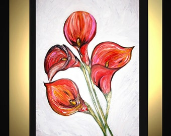 Original Large Abstract Painting Modern Contemporary Canvas Art  Pink Orange White CALLA LILIES 36x24 Palette Knife Texture Oil J.LEIGH