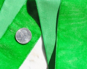 Beautiful French vintage bright green velvet  ribbon - 1 7/8 inches in width - yardage