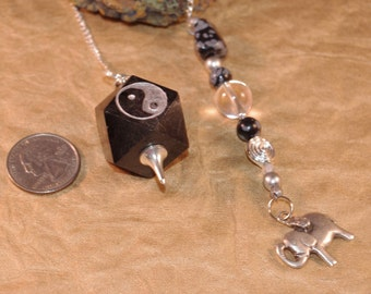 Black Onyx -YinYang with Lucky Elephant Gemstone Dowsing Pendulum New Age Magick Pagan 135935P