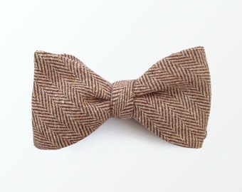 Tweed bow ties for Men, Brown Herringbone Wool Gift For Men Dad Father Gift Men's Bow Tie/ READY TO SHIP