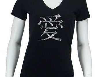 Women's V-neck T-shirt - Created using The Word Love in 44 Languages