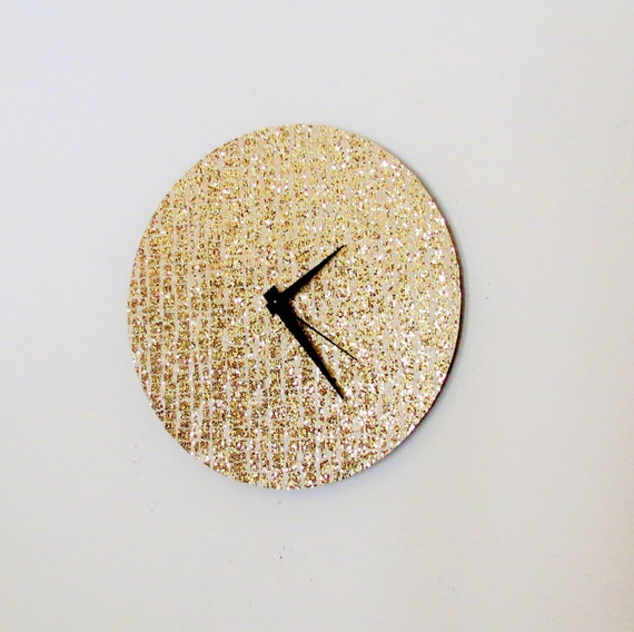Etsy Gold Wall Decor : Items similar to unique wall clock gold glitter