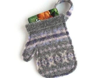 Felted Wool Gray, Purple, Lilac and Cream Mitten Christmas Gift Card Holder / Ornament, Upcycled Recycled Christmas Decoration - Decor