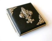 Fleur de Lis Black Leatherette Cigarette Case - Card Holder Case - Smokers Accessories