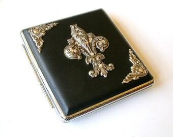 Fleur de Lis Black Case Leatherette Cigarette Case Card Holder Case Smokers Accessories Fleur des Lys Cigarette Case Gift Women Gift Men
