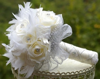 Brooch Bridal Bouquet Winter White Ivory Silk Rose and Feather