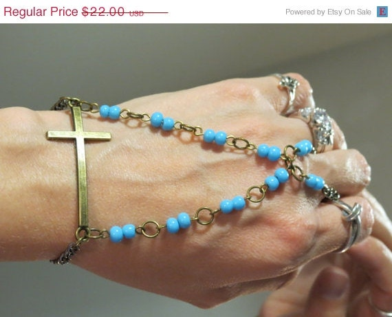 Sized Beaded Cross Bracelet Ring, Slave Bracelet, Religious, Christian, Catholic Bracelet, baby blue, Blue Sky, Custom Sized, Cross