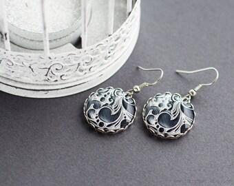 Abstract black earrings, dark gray earrings, abstract jewelry, steampunk jewelry, rock jewelry, black and white, provance, elegant earrings