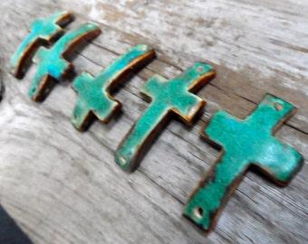 One sideways cross   bracelet bead  turquoise