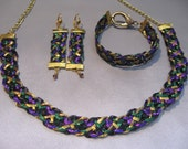 "Wire Kumihimo Necklace - Bracelet - Earrng Set ""Mardi Gras"" Purple Green Gold Black"