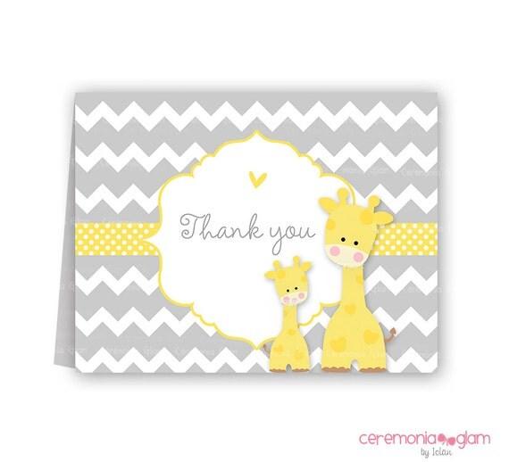 Baby Shower Thank You Cards Chevron Giraffe Yellow PRINTABLE