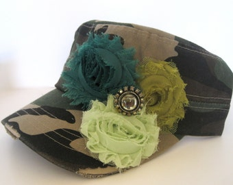 Cadet Distressed Green Camouflage Hat with Shades of Green Chiffon Shabby Frayed Fabric Flowers and a Vintage Rhinestone Accent Duck Dynasty