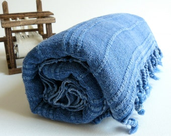 Turkish towel hand loomed Peshtemal Towel for beach and bath in blue stone washed, genuine handloomed