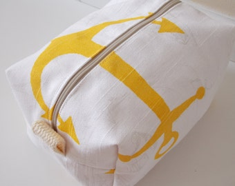 Nautical Makeup Bag - Yellow Makeup Bag - Cosmetic Bag - Large Makeup Bag - Waterproof Makeup Bag