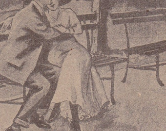 Ca. 1930s Victorian Comical Postcard w/ Lovers - 955
