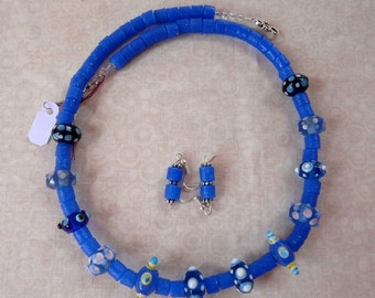 SALE!   19 Inch Royal Blue Sand Cast  and Lampwork Glass Bead Necklace with Earrings