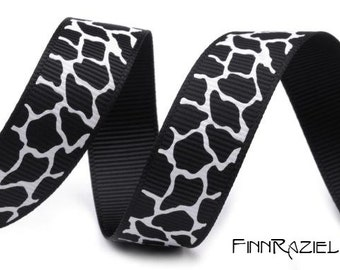 1m animal giraffe print grosgrain ribbon 15mm black and white