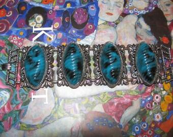 Vintage Very Large Blue Cabochon Bracelet