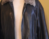 Vintage 90s Bergdorf Goodman Brown Leather Coat Jacket, Wool Collar and Wood Lined, Sm