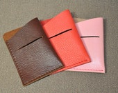 Leather Card Case - Credit Card Case - business card case - slim wallet - leather wallet - pink card case - leather card wallet